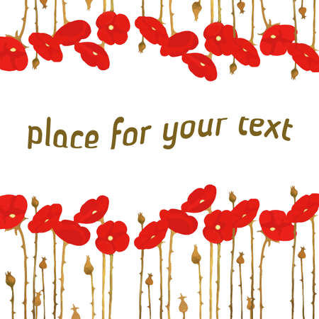 blooming: Vector postcard with poppy pattern, blooming poppy