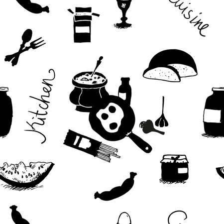 garlic bread: Seamless pattern with food and cooking utensils