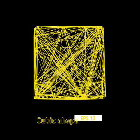 cuboid: 3D cube of chaotic lines yellow, network, vector object, geometric element for design