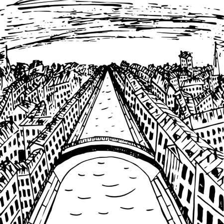 footbridge: View of old town from the height of birds flight, ink drawing, vector illustration Illustration
