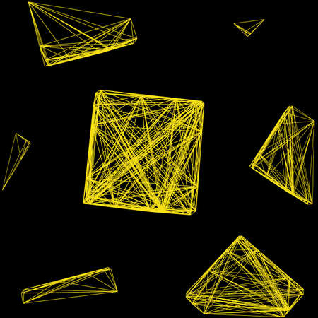 cuboid: Seamless pattern 3D cube of interwoven lines yellow, network, vector illustration on isolated black background