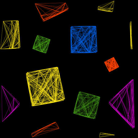 cuboid: Seamless pattern of colorful 3D cubes, a cube made of lines, vector illustration on isolated black background