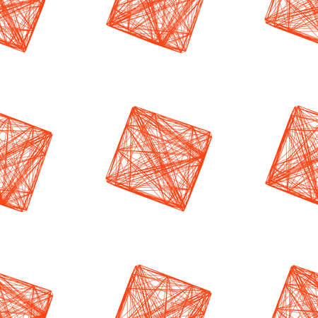 liaison: Seamless pattern red 3D cube, network, vector illustration Illustration
