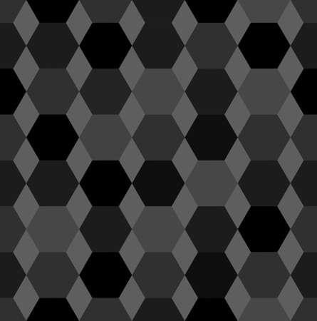 hexahedron: Hexagon seamless pattern, hexahedron shape, grey geometric background, vector illustration