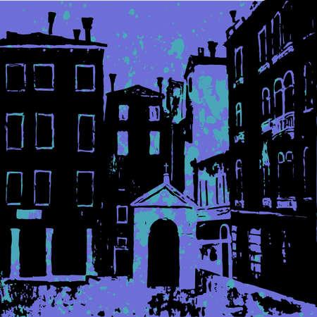 chapel: Venetian square with Catholic chapel in night, venice architecture, venice campo, venice vector background