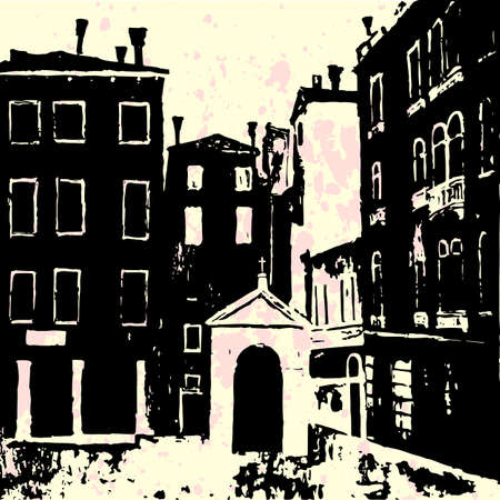 chapel: Venetian square with Catholic chapel, venice architecture, venice campo, venice vector background