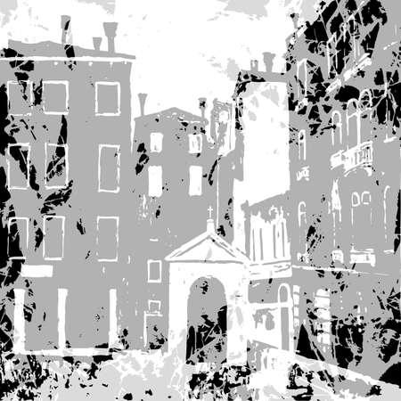 Venice background in graphic monochrome vintage style,  Catholic chapel, venice campo, venice vector background