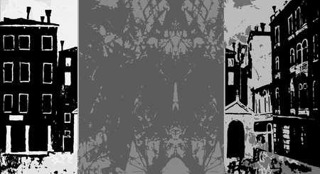 chapel: Venice banner in graphic monochrome vintage style,  Catholic chapel, venice campo, venice vector background