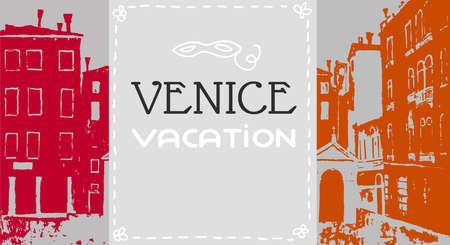 chapel: Venice postcard in graphic vintage style,  Catholic chapel, venice campo, venice vector background