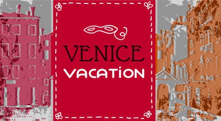 chapel: Venice postcard in graphic vintage style,  Catholic chapel, venice campo, venice vector background, red orange color