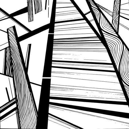 guardrails: Abstract geometric background, geometric design, monochrome ink drawing