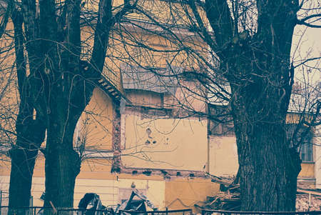 deconstruct: Destruction and ruins, destroyed house, trees