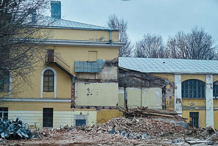 deconstruct: The demolition of building, destruction and ruins, destroyed house