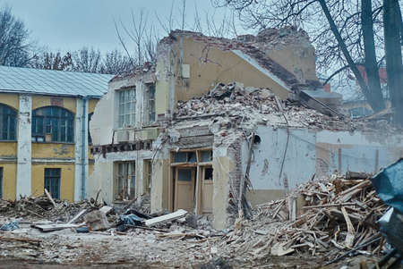 deconstruct: Destruction and ruins, destroyed house Stock Photo