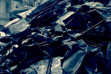 metal scrap: Bunch of sheet metal, metal scrap, dismantled pieces sheet metal of old roof, ecology problems