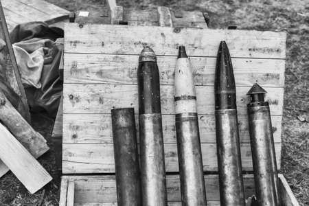 artillery shell: Casings from live ammunition, reconstruction of life and subjects of second world war, artillery shell, military equipment