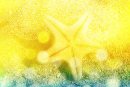 uplifting: Beach background with sea star and effect sun glare, summer background photo collage