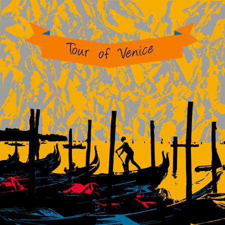 Kade van de gondels in de buurt gebied San-Marco in Venetië, Venetië achtergrond, Venetië gondels