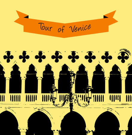 doges: The wall of the Doges Palace in Venice, venice background Illustration