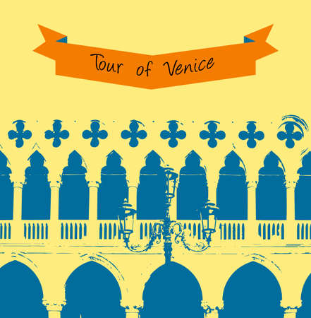 doges  palace: The wall of the Doges Palace in Venice, venice background Illustration