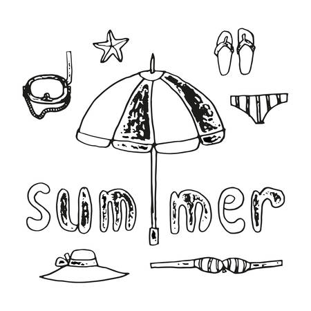 Summer set of beach items and handwritten inscription, hand drawing linear illustration monochrome