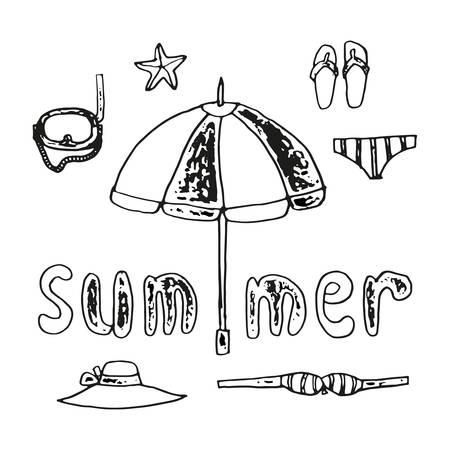 sandalias: el verano de conjunto de elementos de playa y la inscripción escrita a mano, la mano de dibujo lineal en blanco y negro ilustración Vectores