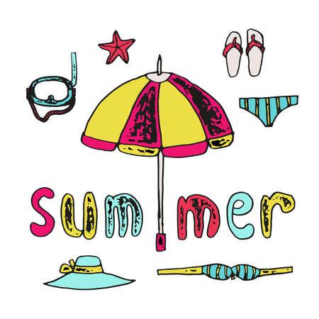 sandalias: el verano de conjunto de elementos de playa y la inscripción escrita a mano, dibujo a mano ilustración de la vendimia