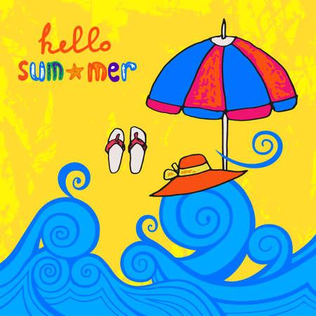 Playa del verano con las olas del mar y la inscripción escrita a mano, ilustración vectorial dibujado a mano