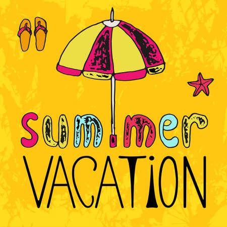 sandalias: Cartel del verano con la inscripción caligráfica, ilustración vectorial dibujado a mano Vectores