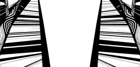 guardrails: Abstract geometric background, geometric design, monochrome ink drawing banner Illustration