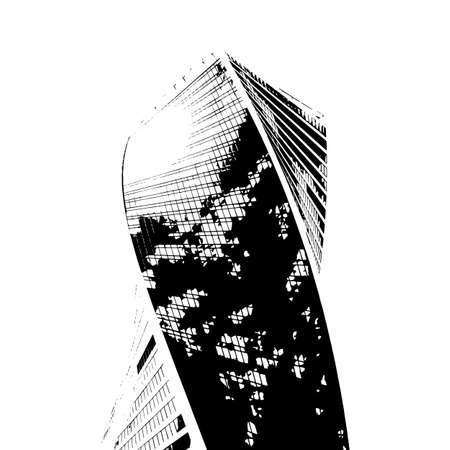 Modern business building, majestic skyscraper, vector business illustration