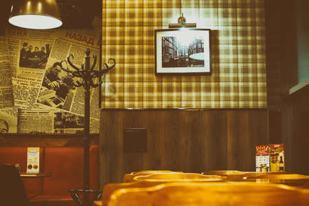 The interior of cafe in retro Soviet style toned brown