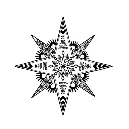 Eight-pointed Christmas star hand drawn vector illusration isolated on white background 스톡 콘텐츠 - 91236944