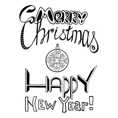 Lettering inscription hand drawn. Congratulations with New year and Christmas 스톡 콘텐츠 - 91237017