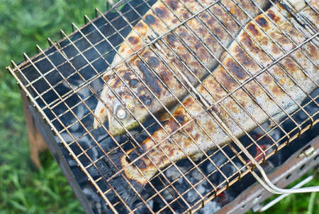 Fried trout on the grill close up Stockfoto