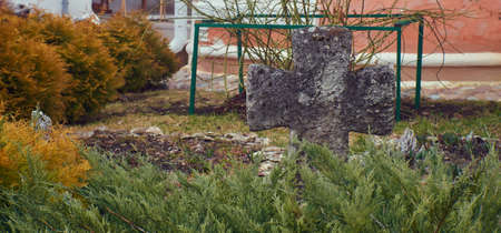 Garden with cedars and ancient stone cross close up Stock Photo