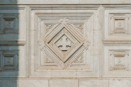 Fragment of wall decoration in an Orthodox Church, carving on marble closeup Stock Photo