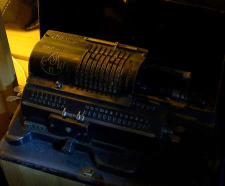 Vintage antique adding machine closeup