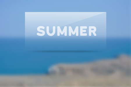 Summer sea background with transparent label