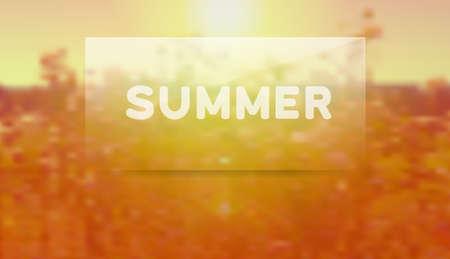 Summer nature background with transparent label Illustration