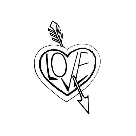 Pierced by an arrow heart monochrome symbol