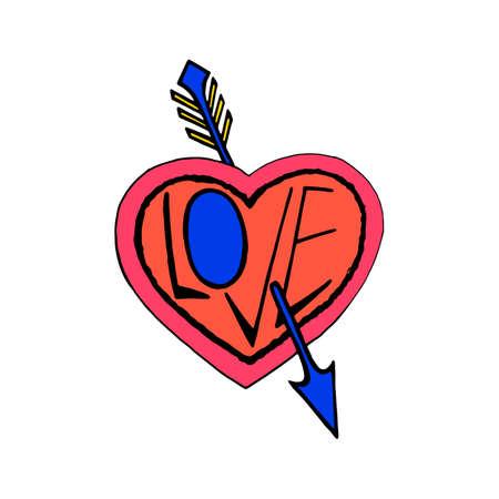 Pierced by an arrow heart symbol  イラスト・ベクター素材