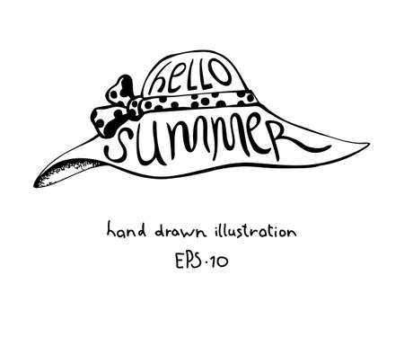 Summer womens hat with lettering hand drawn design element Illustration