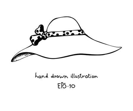 Summer womens hat hand drawn design element