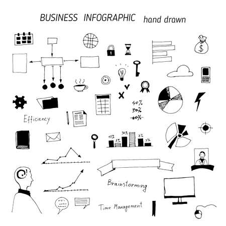 Set of hand drawn business icons, office work