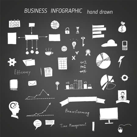 Set of hand drawn icons on chalkboard, business concepts and infographic 일러스트