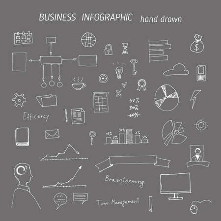 Set of hand drawn business concepts icons, office work