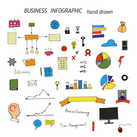 Set of hand drawn business and office icons