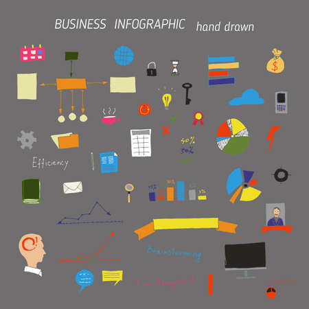 Set of hand drawn business and office concepts icons