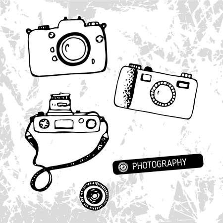 Retro cameras hand drawn vector illustration Illustration